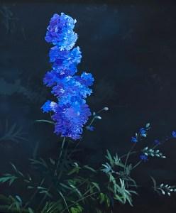 """Tom Gardner """"Blue Flowers"""" 18x16 oil $1,300."""