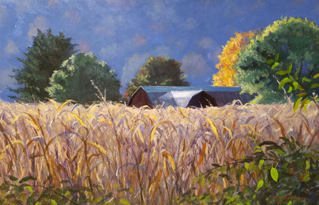 "Tom Gardner ""Cornfield"" 24x36 oil $2,600."