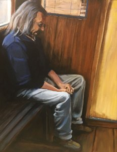 "Tom Gardner ""Valparaiso, Chile Worker"" 30x24 oil $2,200."