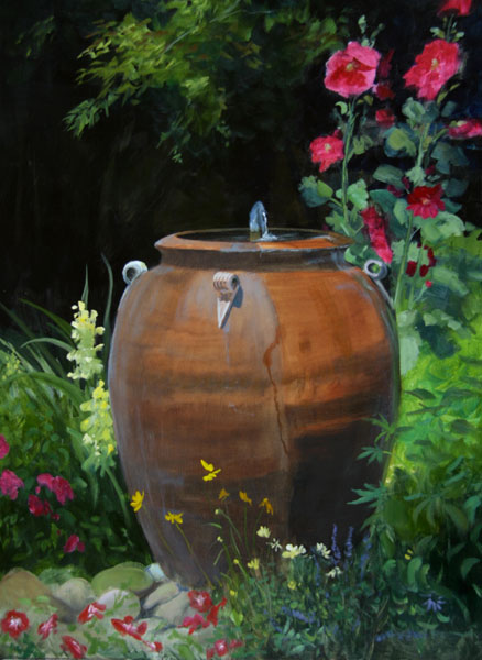 "Tom Gardner ""Fountain Flowers"" 24x18 oil $1,800."