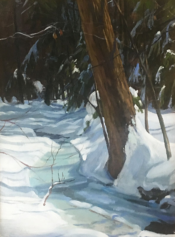 "Tom Gardner ""Frozen Creek"" 20x15 oil $1,400."