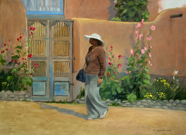 "Tom Gardner ""Holly Hocks - Santa Fe"" 18x24 oil $1,800."