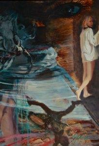 """Tom Gardner """"Leap of Faith"""" 30x20 oil $2,000."""