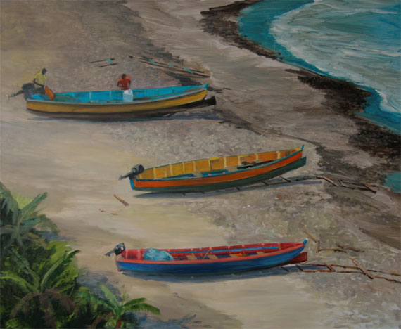 "Tom Gardner ""Low Tide St. Lucia Fishing Boats"" 24x30 oil $2,200."