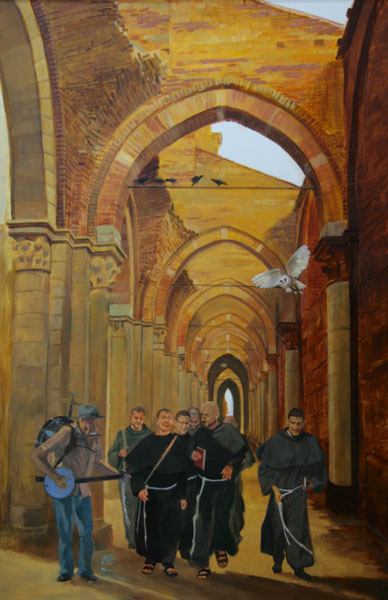 "Tom Gardner ""Monks and Minstral"" 36x24 oil $2,700."