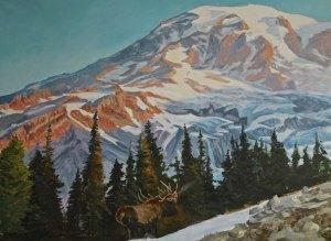 """Tom Gardner """"Mt. Rainier"""" 30x40 oil $3,200."""