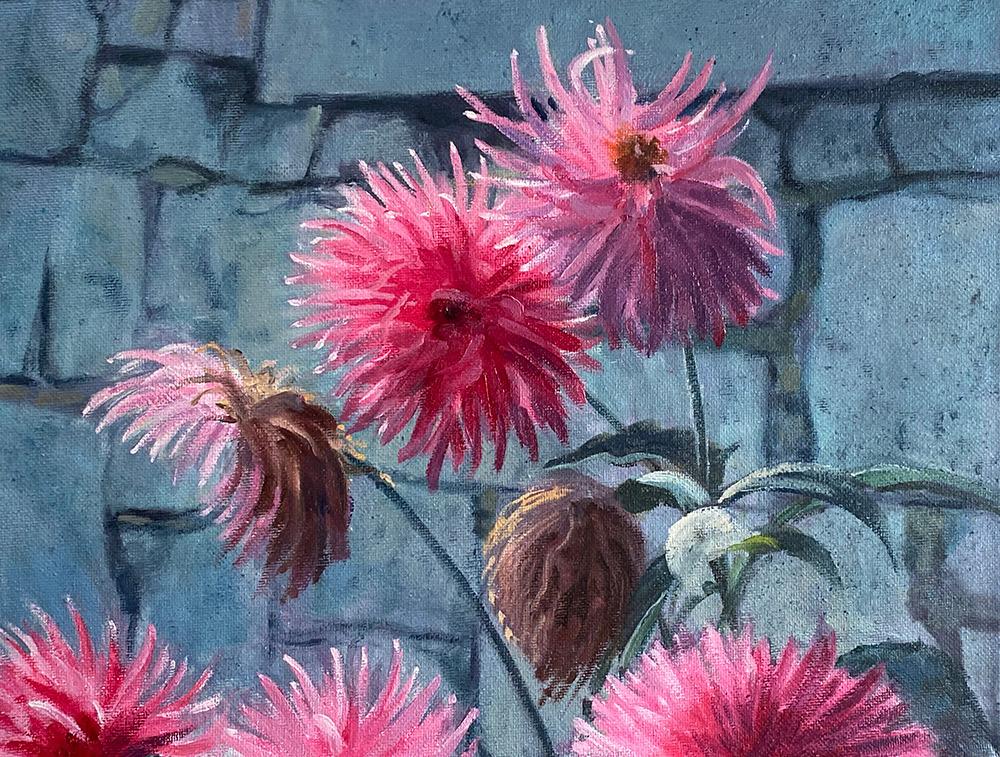 "Tom Gardner ""Pink Flowers"" 11x14 oil $775."