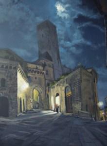 """Tom Gardner """"San Gimignano Moonlight"""" 24x18 oil $1,800."""