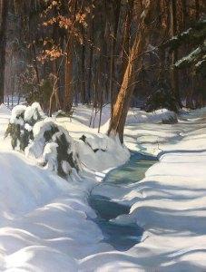 """Tom Gardner """"Snowbound"""" 30x24 oil $2,200."""