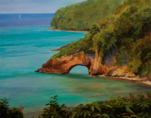 "Tom Gardner ""St. Lucia Divers"" 24x30 oil $2,200."