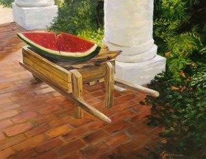 """Tom Gardner """"Wooden Watermelon"""" 18x24 oi $1,800."""
