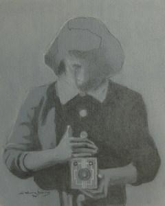 "Edd Tokarz Harnas ""Agfa"" 10x8 pencil/acrylic on gallery wrapped canvas $170."