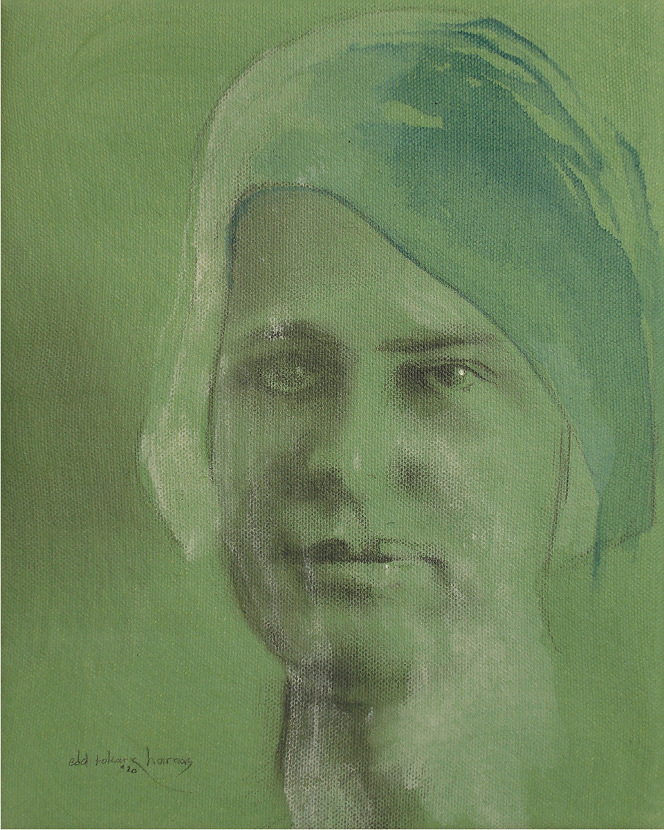 """Edd Tokarz Harnas """"Early Morning Blues and Green"""" 10x8 pencil/acrylic on gallery wrapped canvas $170."""