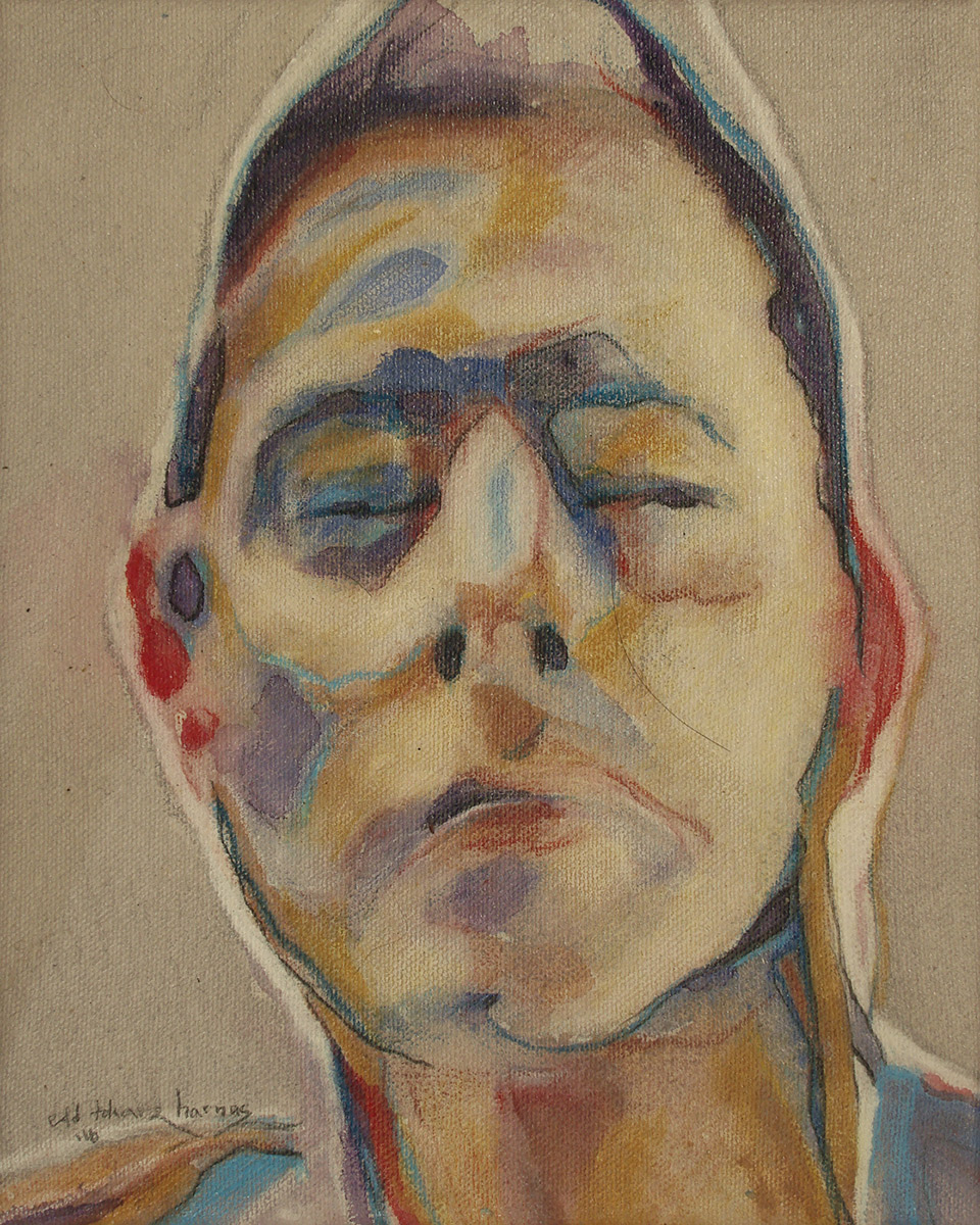 "Edd Tokarz Harnas ""Haole Kabuki"" 10x8 pencil/acrylic on gallery wrapped canvas $170."