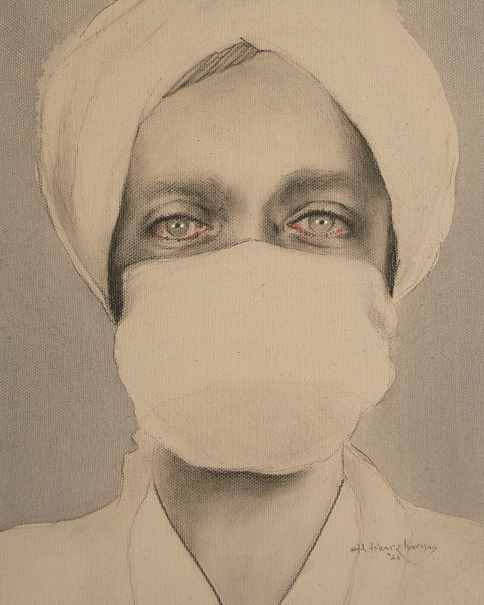 "Edd Tokarz Harnas ""Madelaine Moment"" 10x8 pencil/acrylic on gallery wrapped canvas $170."