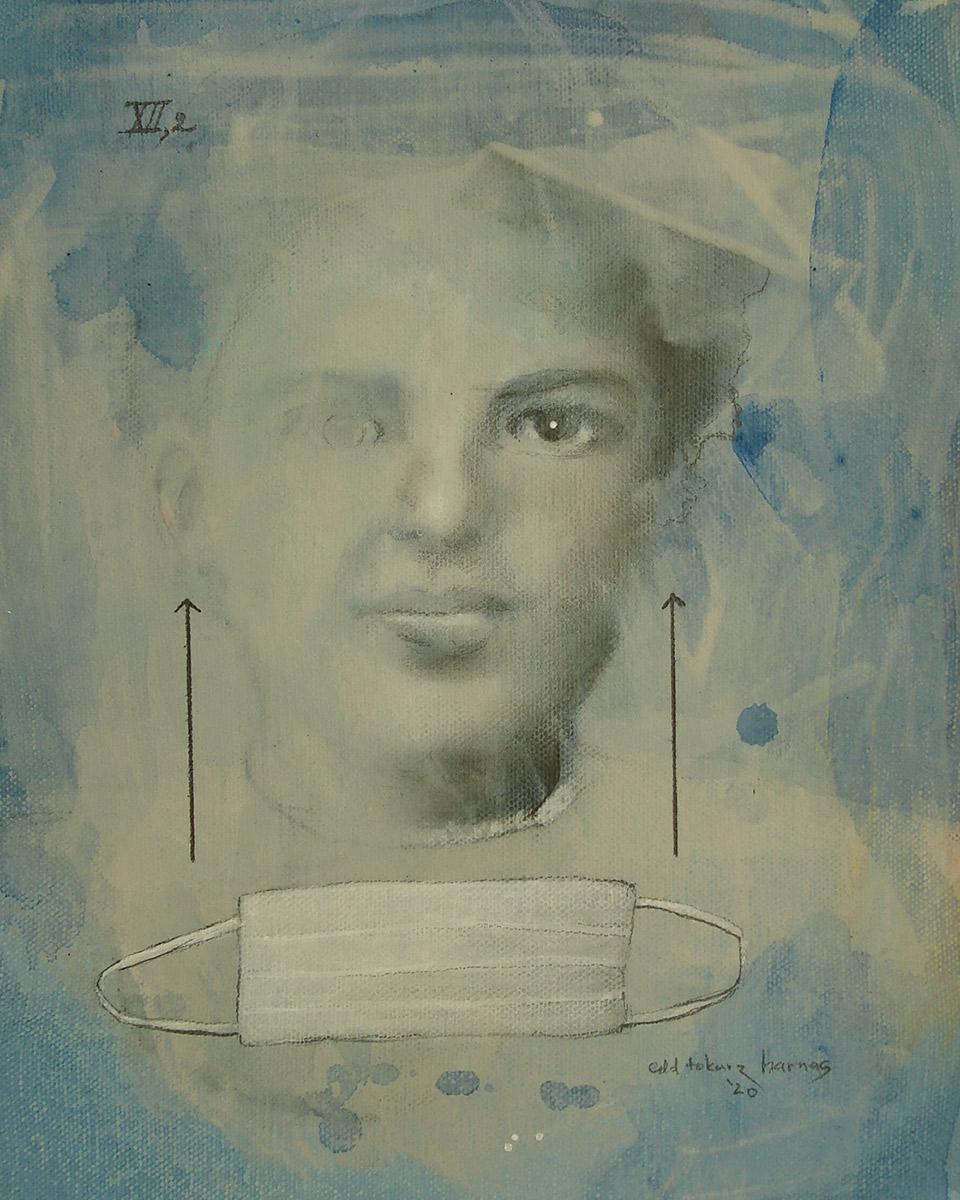 "Edd Tokarz Harnas ""You Got Two Ways To Go"" 10x8 pencil/acrylic on gallery wrapped canvas $170."