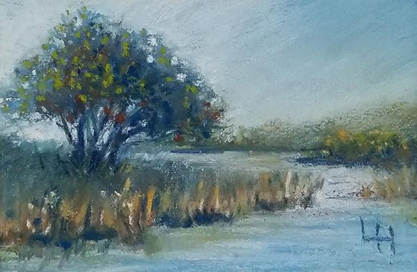 "Linda Hansee ""Blue Marsh"" 2x3 pastel $150."