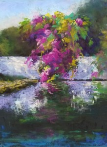 "Linda Hansee ""Bougainvillea Reflections"" 11x8 pastel $395."