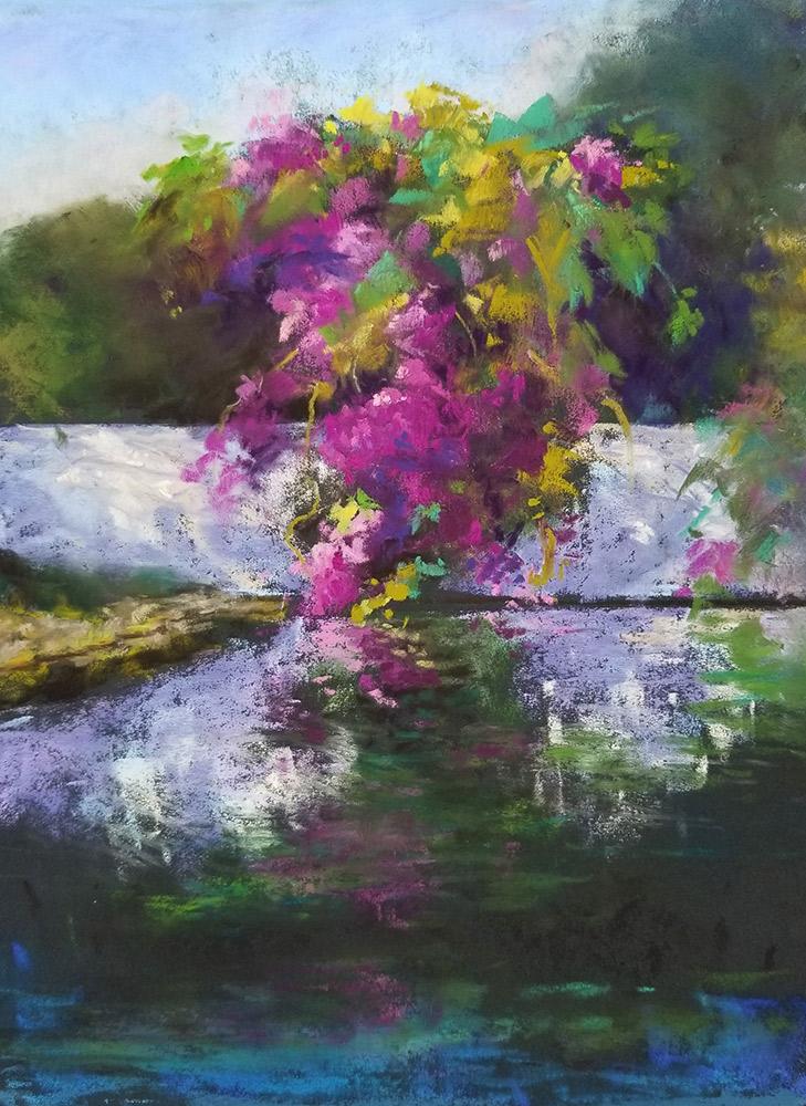 "Linda Hansee ""Bougainvillea Reflections"" 11x8 pastel $395."