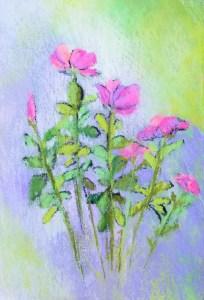 """Linda Hansee """"Dancing Flowers"""" 7.5x5.5 pastel $295."""