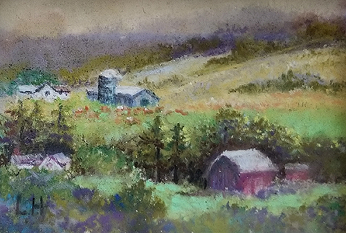 "Linda Hansee ""Finger Lakes Farms"" 2x3 pastel $150. SOLD"