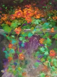 """Linda Hansee """"Nastertiums"""" 8x5 pastel $295."""