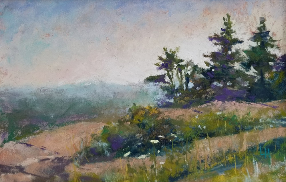 "Linda Hansee ""Pines on Cadillac Mountain"" 5.5x8 pastel $250."