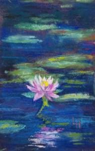 "Linda Hansee ""Pink Lily"" 5x3 pastel $195."