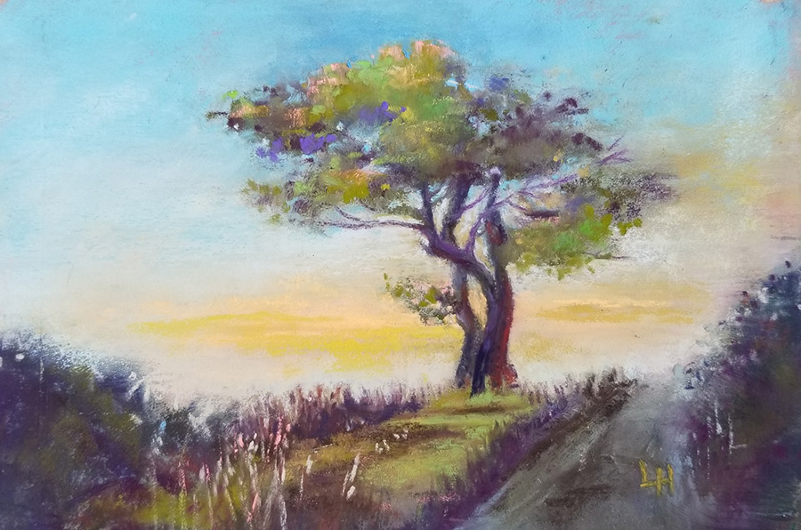 "Linda Hansee ""Shaped by the Wind"" 3.5x5.5 pastel $195."