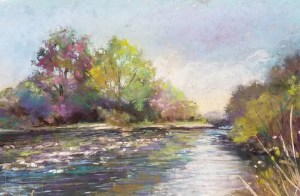 "Linda Hansee ""Summer on the River"" 7.5x10.5 pastel $375."