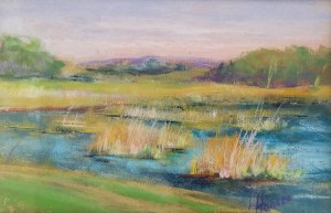 "Linda Hansee ""The Marsh at Sunset"" 6x9 pastel $250."