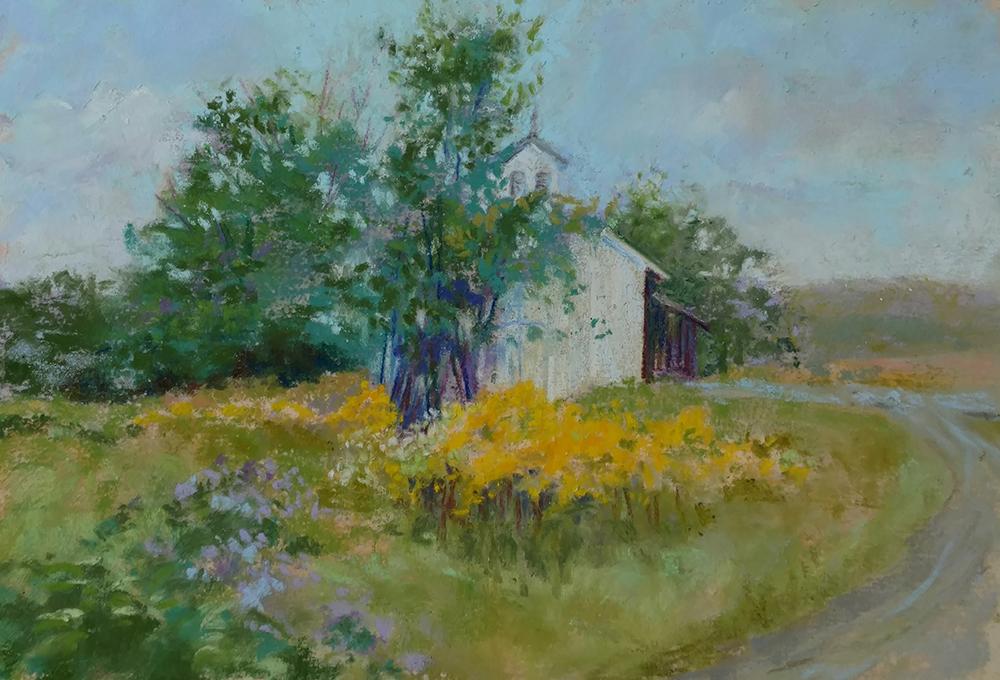 "Linda Hansee ""Upstate Farm"" 3.5x5.5 pastel $295."