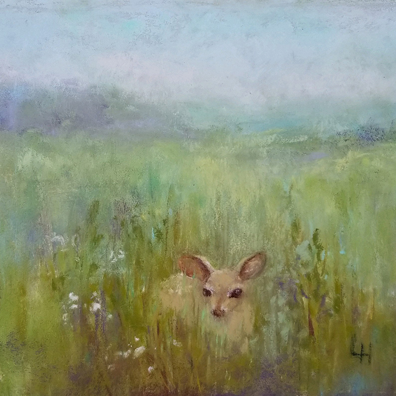 "Linda Hansee ""Waiting for Mom"" 4x4 pastel $250."