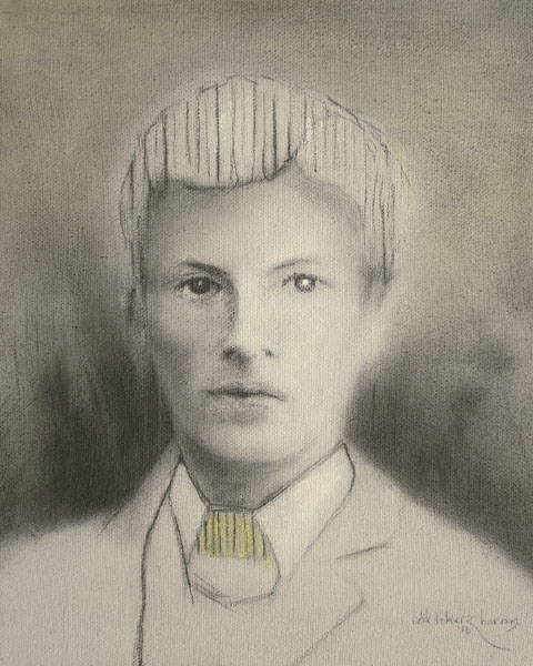 "Edd Tokarz Harnas ""Another Boy with Striped Hair"" 10x8 pencil/acrylic on canvas $170. SOLD"