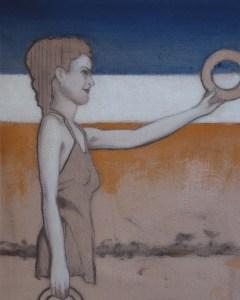 "Edd Tokarz Harnas ""Anyone Care for a Donut?"" 10x8 pencil/acrylic on gallery wrapped canvas $170."