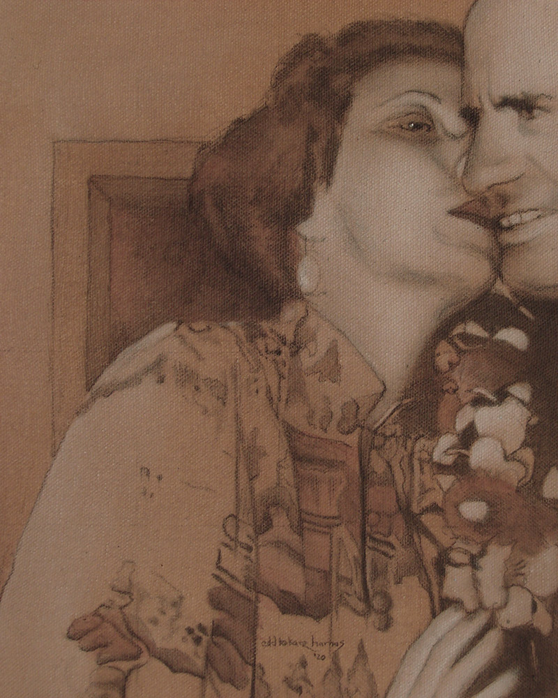 "Edd Tokarz Harnas ""Betsy Bursts His Bubble"" 10x8 pencil/acrylic on gallery wrapped canvas $170."