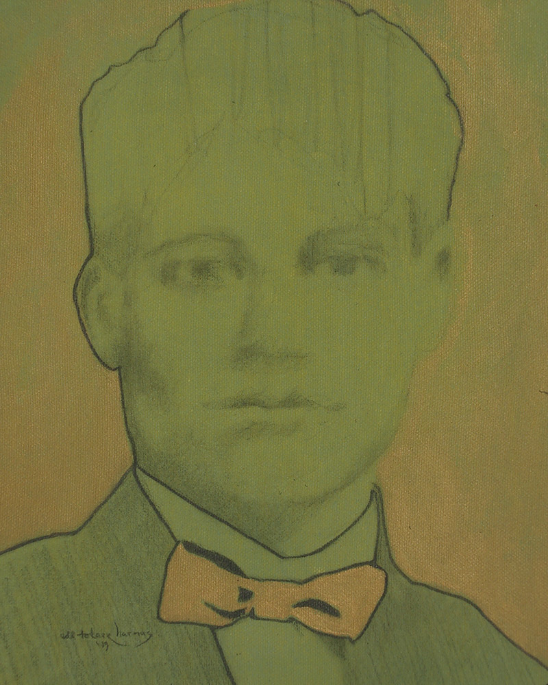 "Edd Tokarz Harnas ""Boy with Striped Hair, Dissolving"" 10x8 pencil/acrylic on gallery wrapped canvas $170. SOLD"