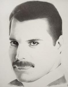 "Edd Tokarz Harnas ""Freddie Mercury"" 14x11 ballpoint pen/paper $160. (unframed)"