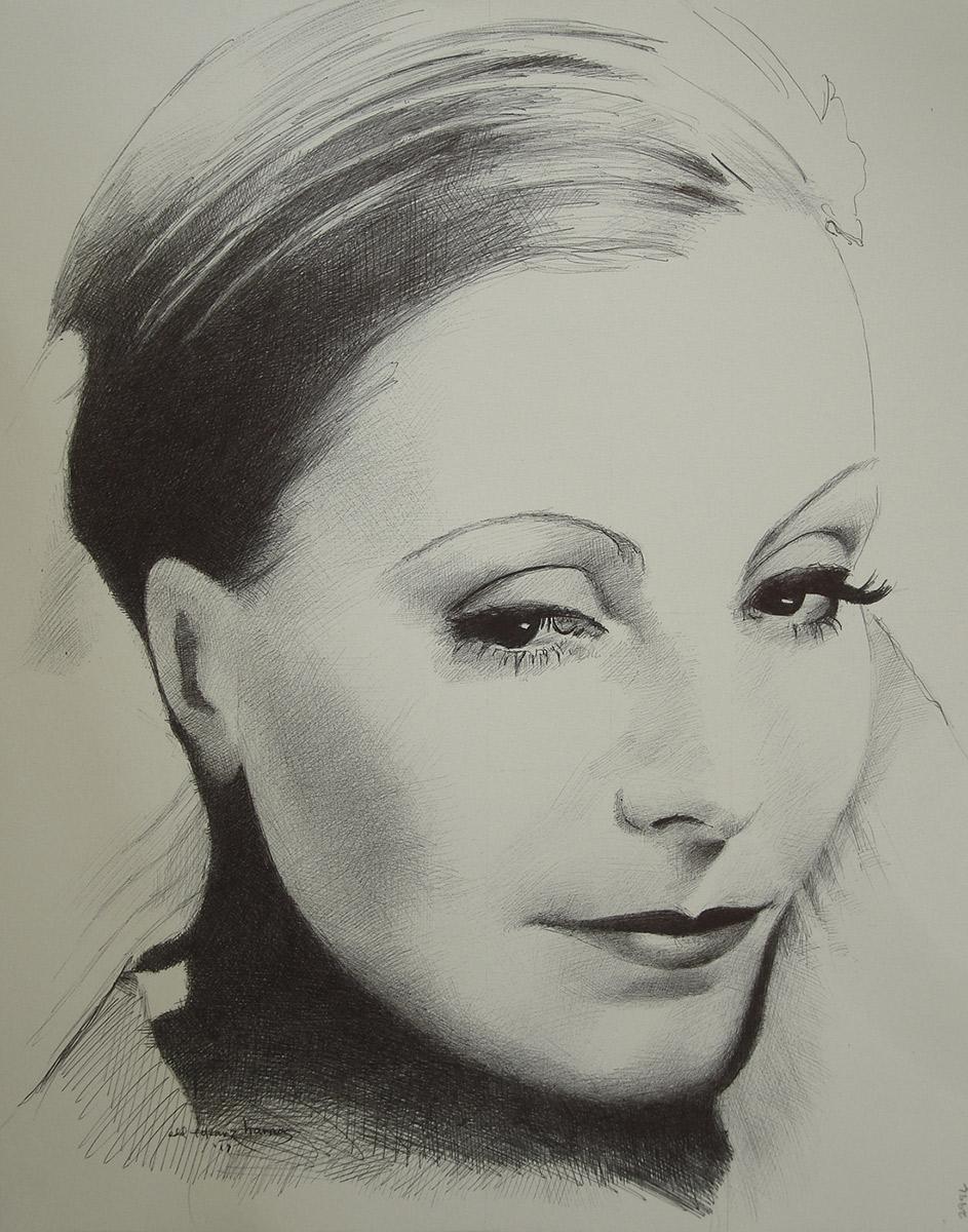 "Edd Tokarz Harnas ""Greta Garbo"" 14x11 ballpoint pen/paper $160. (unframed)"
