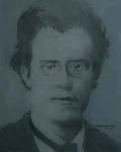 "Edd Tokarz Harnas ""Gustav Mahler"" 10x8 pencil/acrylic on canvas $170."