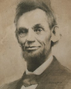 "Edd Tokarz Harnas ""Lincoln #5"" 10x8 pencil/acrylic on canvas $170."