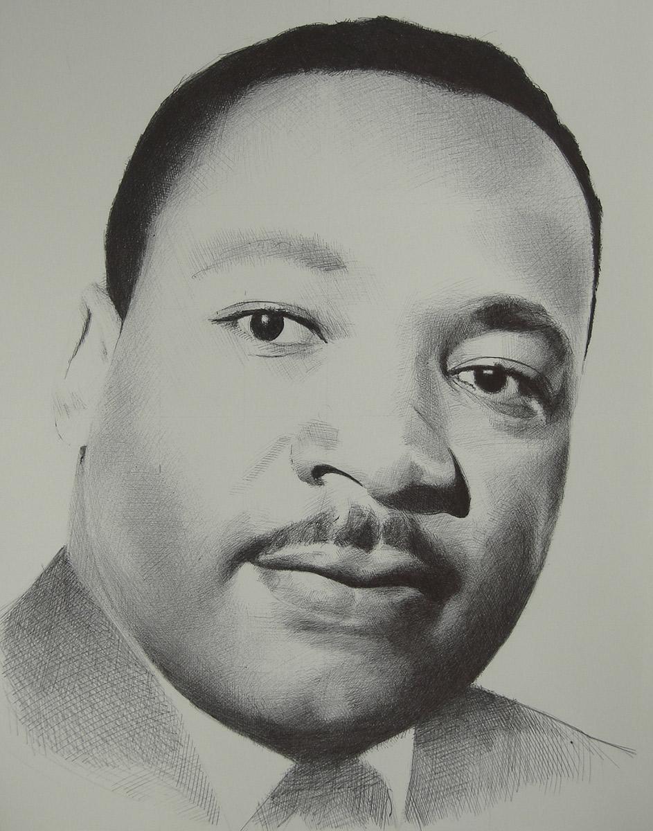 "Edd Tokarz Harnas ""Martin Luther King"" 14x11 ballpoint pen/paper $160. (unframed)"