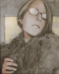 "Edd Tokarz Harnas ""Not My Circus, Not My Monkeys"" 10x8 pencil/acrylic on canvas $170."
