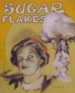 """Edd Tokarz Harnas """"Run Jane Run! Save Yourself!"""" 10x8 pencil/acrylic on canvas $170. SOLD"""