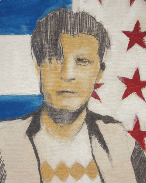 "Edd Tokarz Harnas ""The Disgruntled Voter"" 10x8 pencil/acrylic on canvas $170."