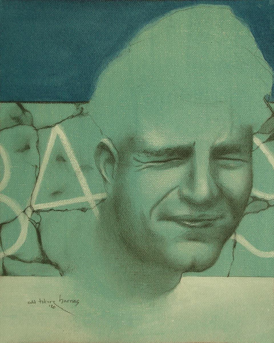 "Edd Tokarz Harnas ""The Unwilling Gatekeeper"" 10x8 pencil/acrylic on gallery wrapped canvas $170."