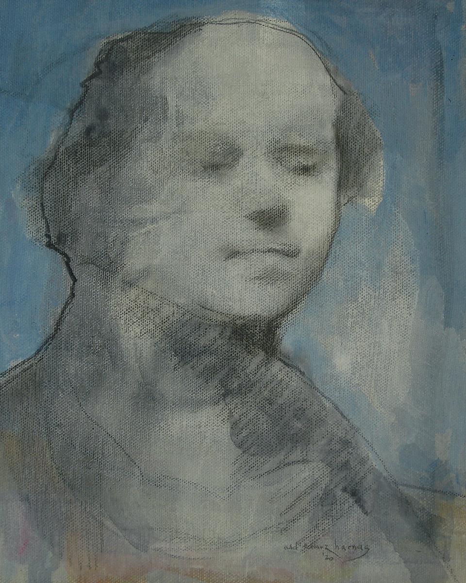 "Edd Tokarz Harnas ""Throwing Wind Horses"" 10x8 pencil/acrylic on gallery wrapped canvas $170."