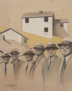 "Edd Tokarz Harnas ""Tragedy of the Common"" 10x8 pencil/acrylic on canvas $170."