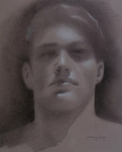 "Edd Tokarz Harnas ""Young Man's Face"" 10x8 pencil/acrylic on canvas $170."