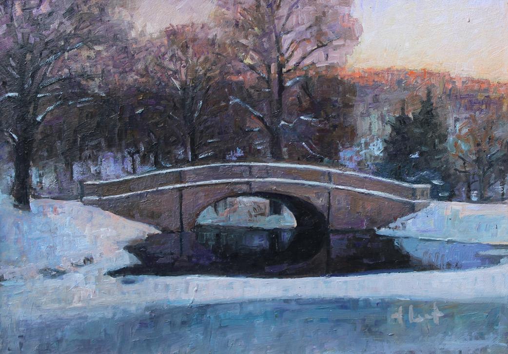 "Brian Hart ""Old Denison Park Bridge - Winter"" 8x11 oil $800. SOLD"